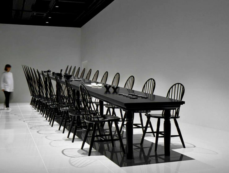 The Crazy Dining Room Optical Illusion by Nendo | This incredible creation was presented at the Milan Expo of 2015, but it's still an iconic statement in the world of design. #opticalillusion #diningtables #diningchairs #diningroom  The Crazy Dining Room Optical Illusion by Nendo featured 1 740x560 dining tables & chairs Home page featured 1 740x560